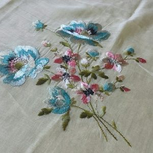 1970s Floral Stitched Kerchief